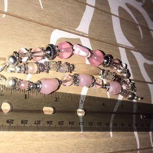 Jewelry - 3 Pretty Pale Pink Beaded Watch/ID Bracelet Bands